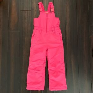 Girls Hot Pink Snow Bibs Coveralls Size 4